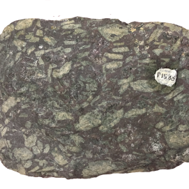 Andesite. An intermediate volcanic rock with pale crystals of plagioclase set in a basic pyroxene-rich matrix. Ordovician (450Ma), Portraine, Co. Dublin